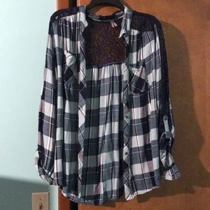 Flannel with lace backing